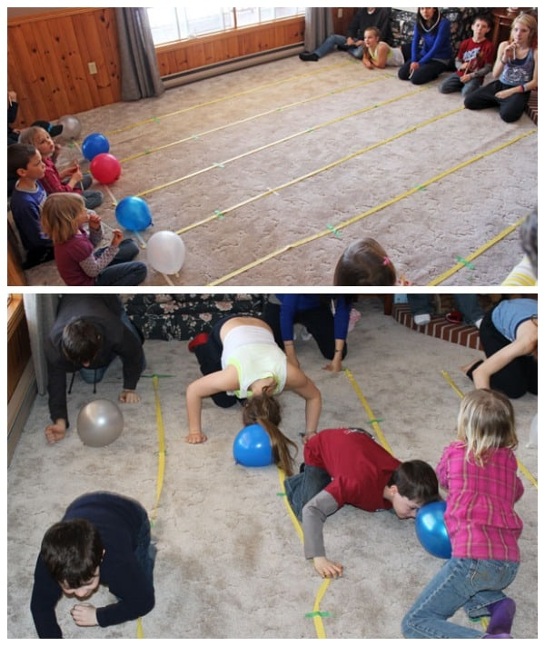 Fun and Cheap Easter Party Games: Easter Olympics featured by top US life and style blog, Fynes Designs: Balloon push game #partygames #easter #kidsgames