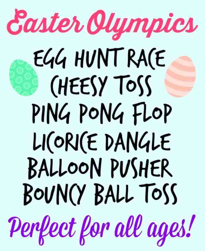 Fun and Cheap Easter Party Games: Easter Olympics featured by top US life and style blog, Fynes Designs: Fun Games to play over the Easter holiday