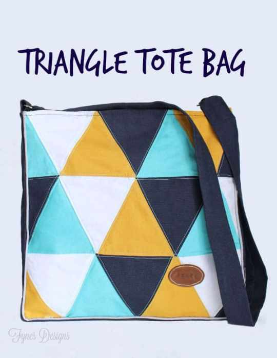 Fun pillow inspired tote bag #sewing #geometric #navy #teal #mustard