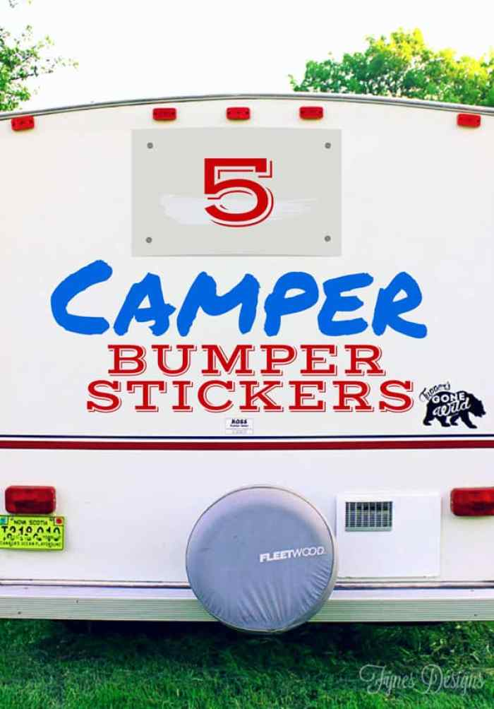 5 fun Camper Bumper Sticker ideas - FREE silhouette cut files to make your own!