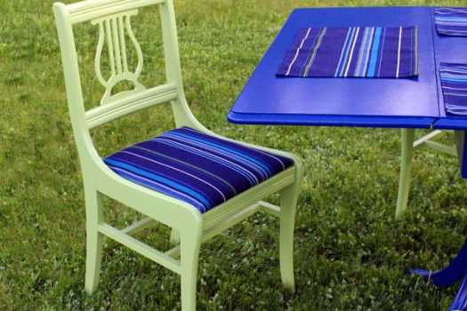 Patio Chairs refurbished from a vintage dining set #sunbrealla #voiceofcolor