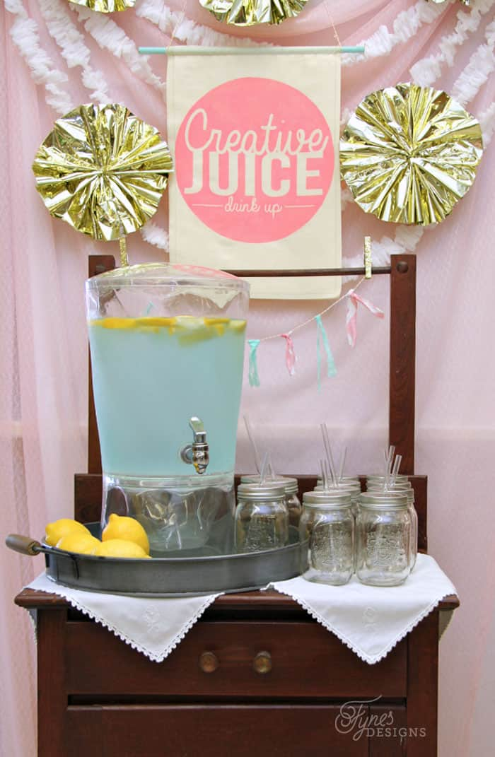 Creative Juice table- Learn how to use Fabric paint with this easy tutorial