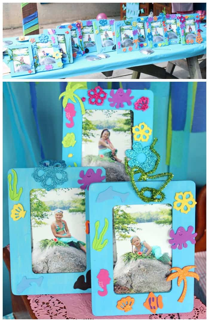 Mermaid party craft idea- have the children decorate Michaels wood frames with under the sea foam stickers