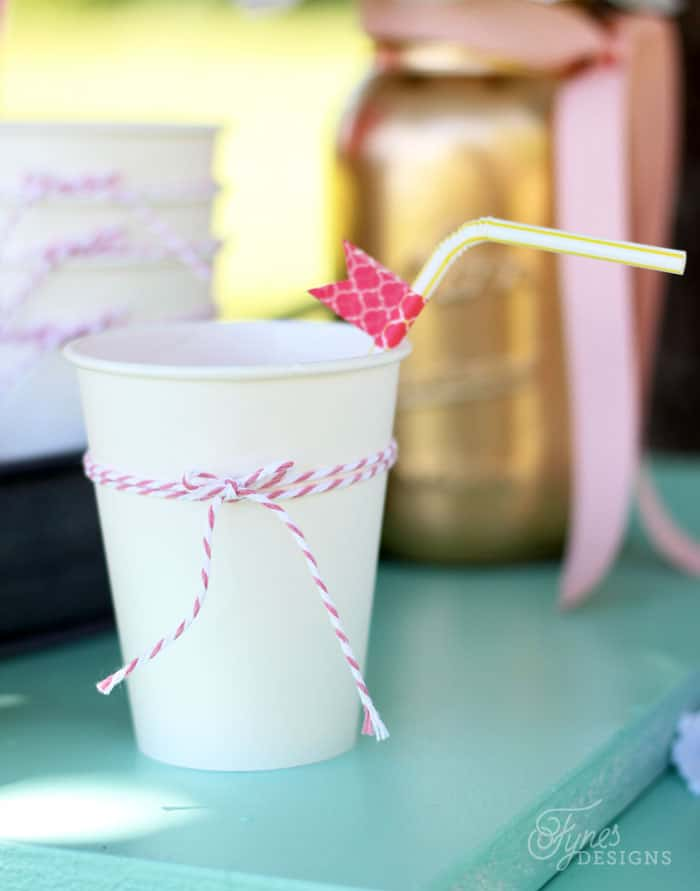 A simple piece of bakers twine makes a regular cup look fancy! Lemonade stand tips