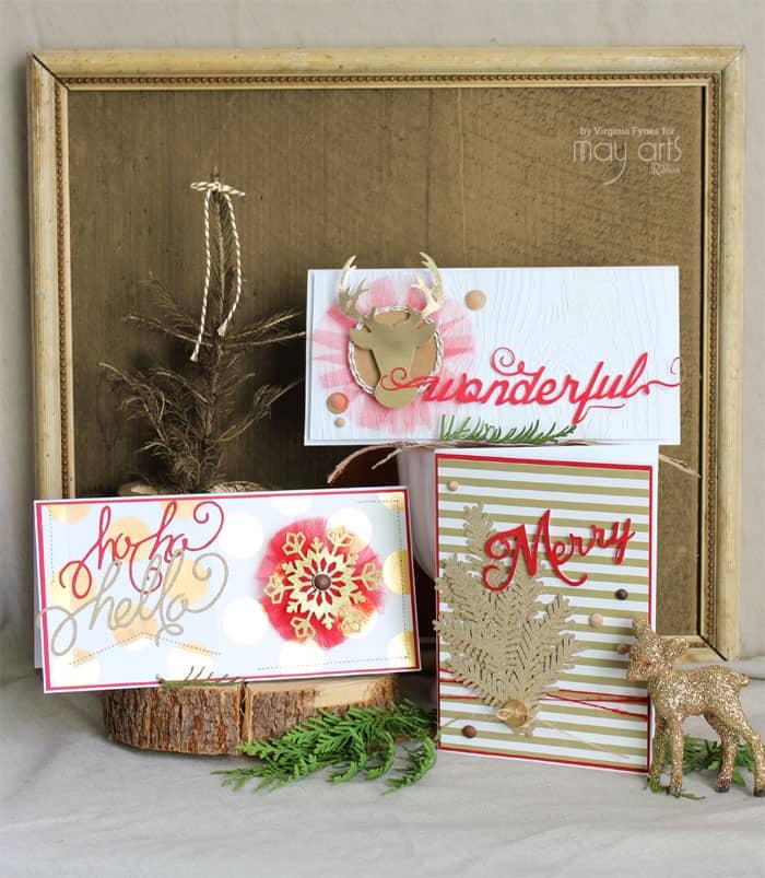 Christmas card ideas plus FREE Silhouette Christmas phrase cut files