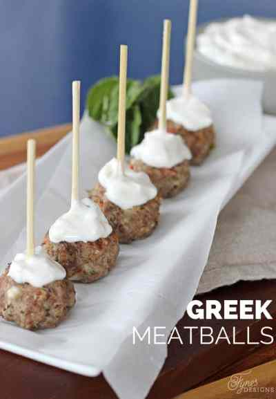 Easy Greek Meatball recipe, your guests will love them, but shhh don't tell them they are healthy!