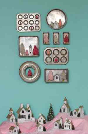Christmas kitchen baking pan gallery wall and christmas village a tutorial featured by top US craft blog, Fynes Designs