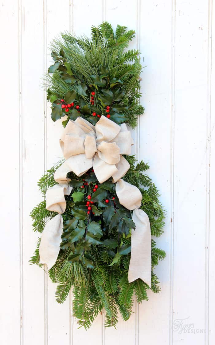 How to make a Christmas swagwreath, Easy to follow instructions featured by top US life and style blog, Fynes Designs