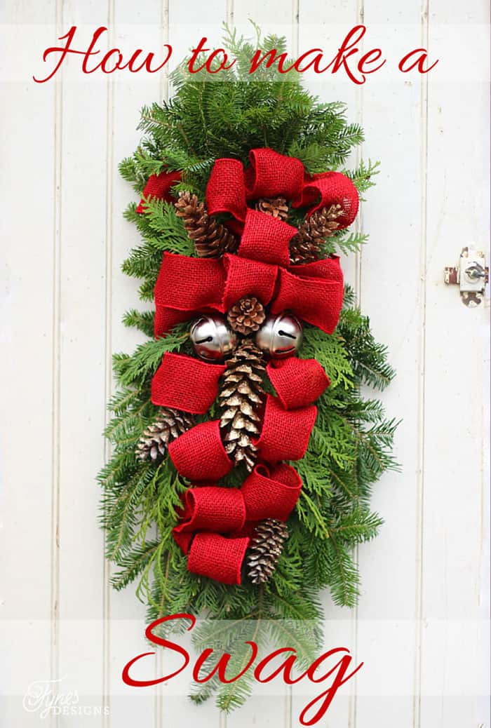 How to make a Christmas Door swag. Easy to follow instructions, a tutorial featured by top US life and style blog, Fynes Designs: