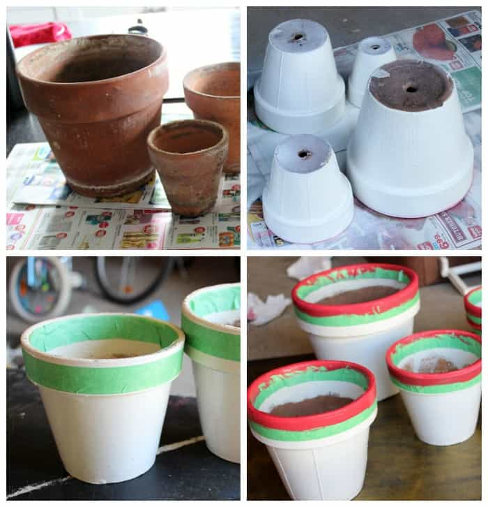Paint terracotta pots to use for Christmas Tree Pots