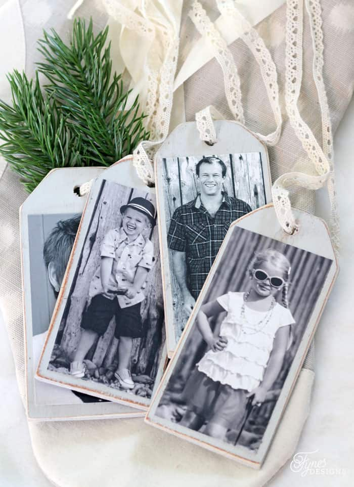 Personalize your Christmas stockings and gifts with these wood photo tags |DIY Personalized Christmas Stockings by popular Canada DIY blog, Fynes Designs: image of black and white photo tags.