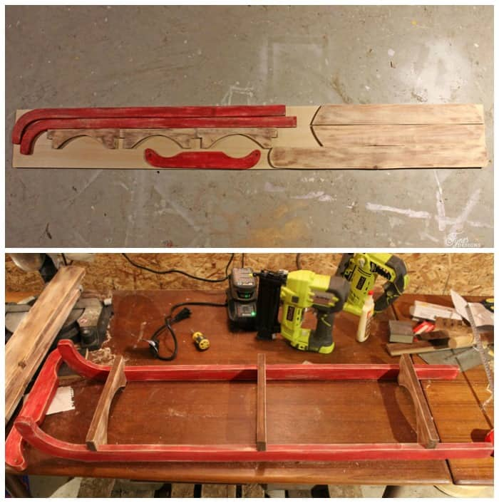 $10 DIY Wooden Sled Tutorial featured by top US craft blog, Fynes Designs: image of sled pattern pieces
