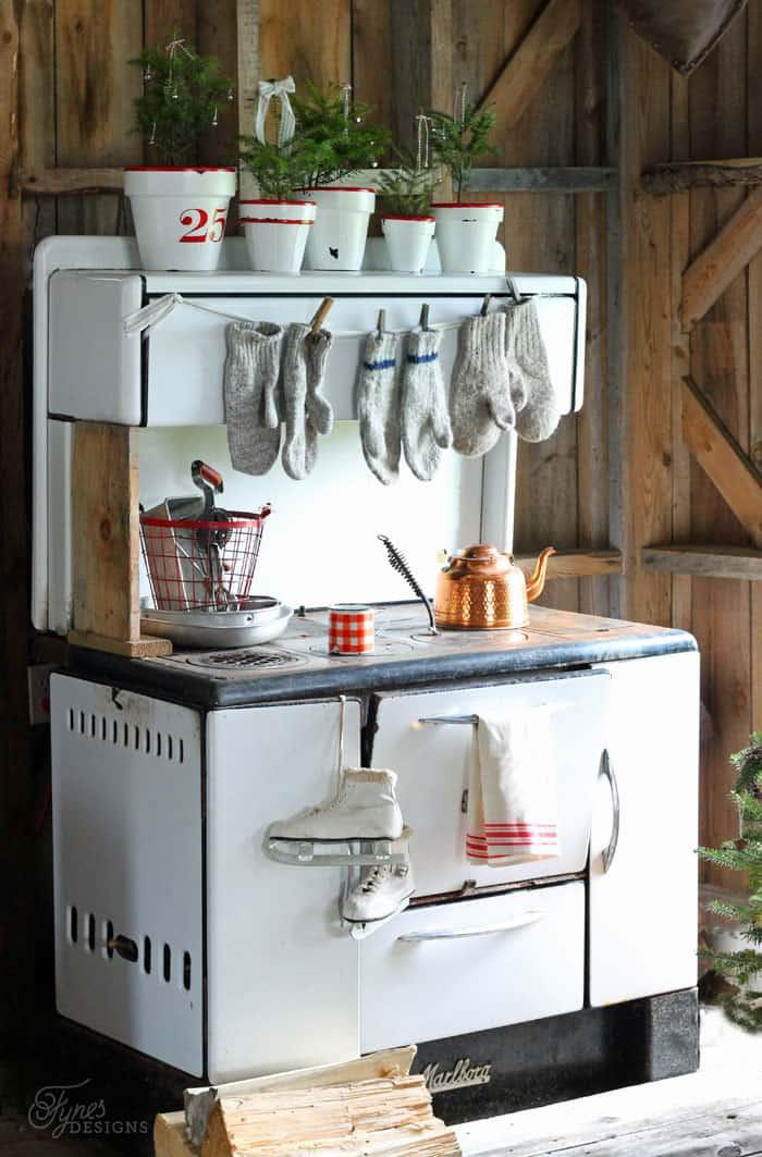Vintage enamel kitchen wood stove