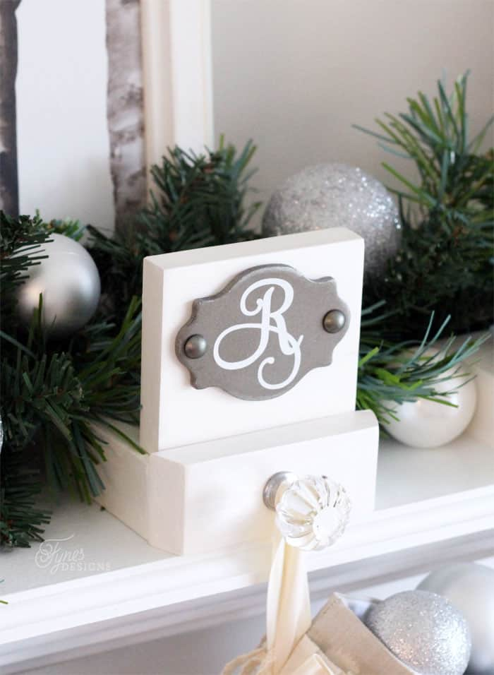 Easy Build Monogrammed Stocking Holders with Pretty Decorative Knobs - Tutorial via Fynes Designs