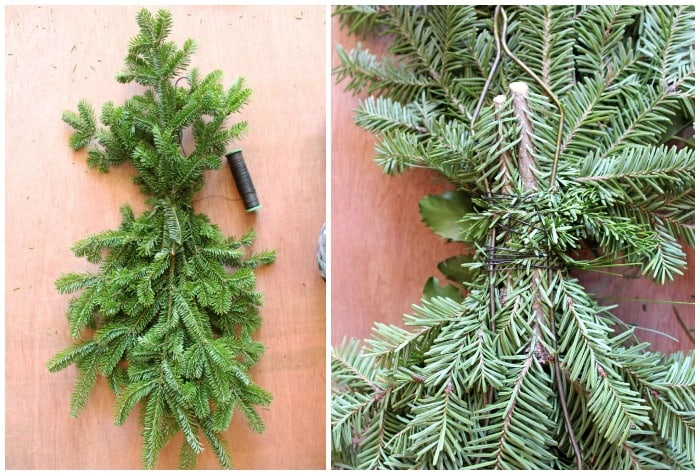 Steps to make a swag for your front door. |Swag Wreath by popular Canada DIY blog, Fynes Designs: collage image of pine boughs being bunched together with wire.