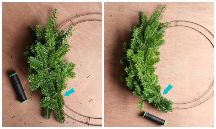 Step 3 How to Make a traditional Chirstmas wreath | Christmas Wreath by popular Canada DIY blog, Fynes Designs: image of a pine tree branch being attached to a flat ring with floral wire.