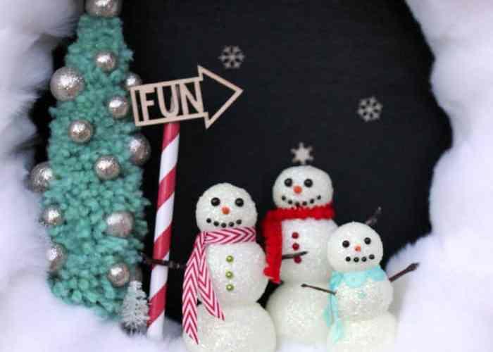 Glittery Snowman Wreath