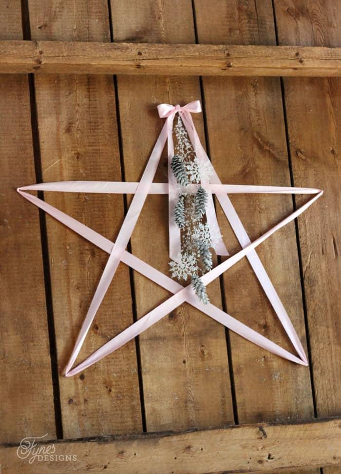 Pink satin ribbon Christmas star