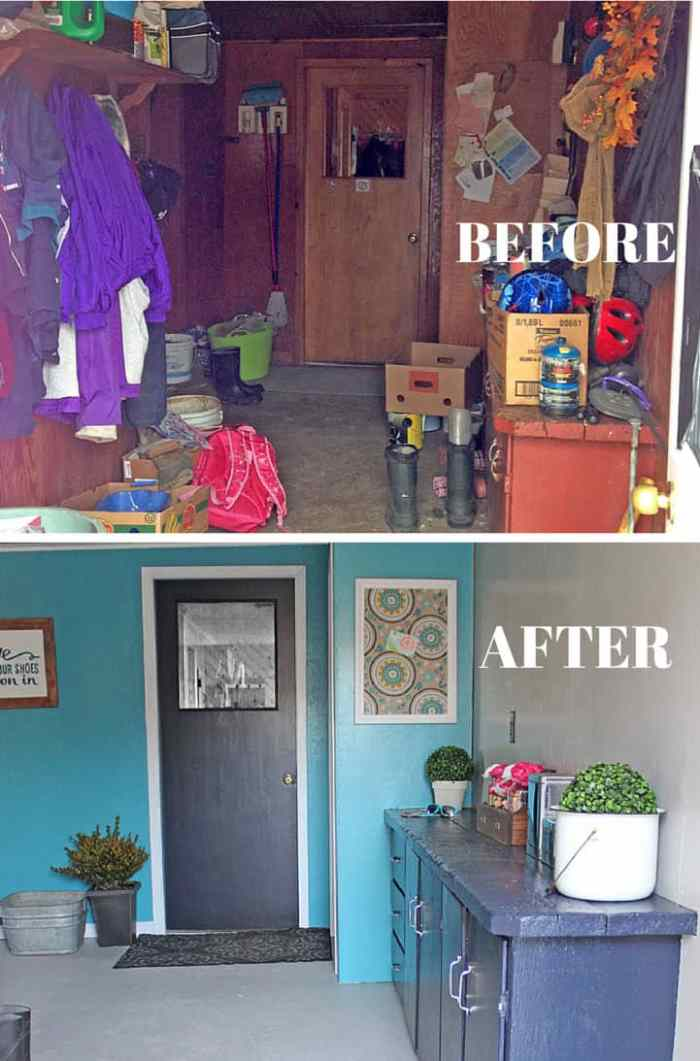 Mudroom makeover before and after