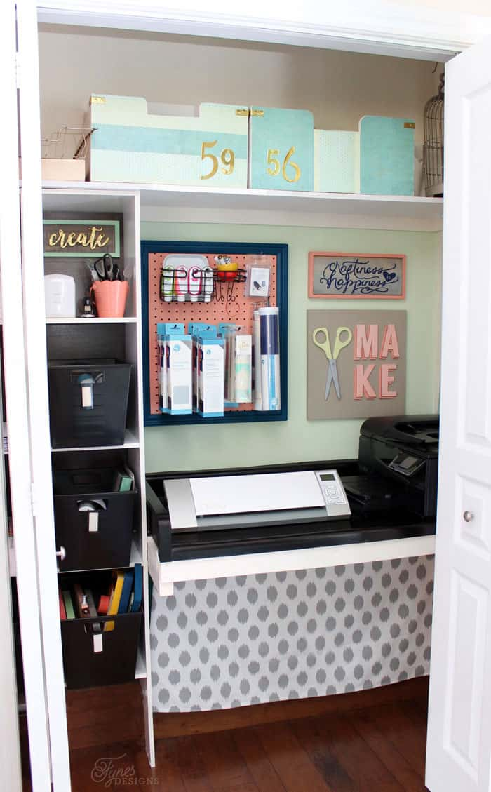 Old coat closet turned into a craft space