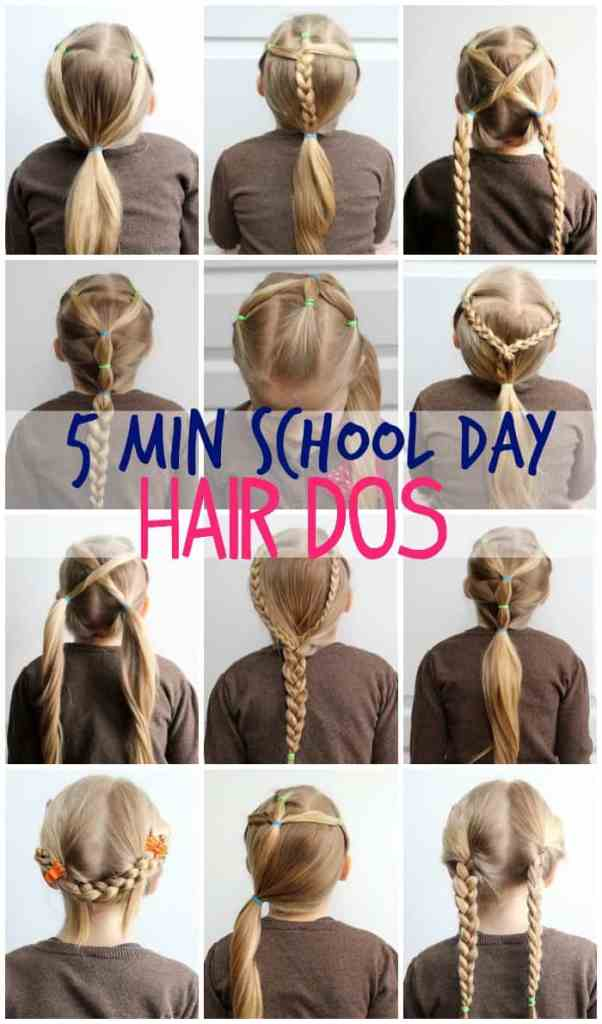 5 Minute Hairstyles for School featured by top US life and style blog, Fynes Designs |5 Minute Hairstyles by popular Canada lifestyle blog, Fynes Designs: Pinterest image of girls hairstyles.