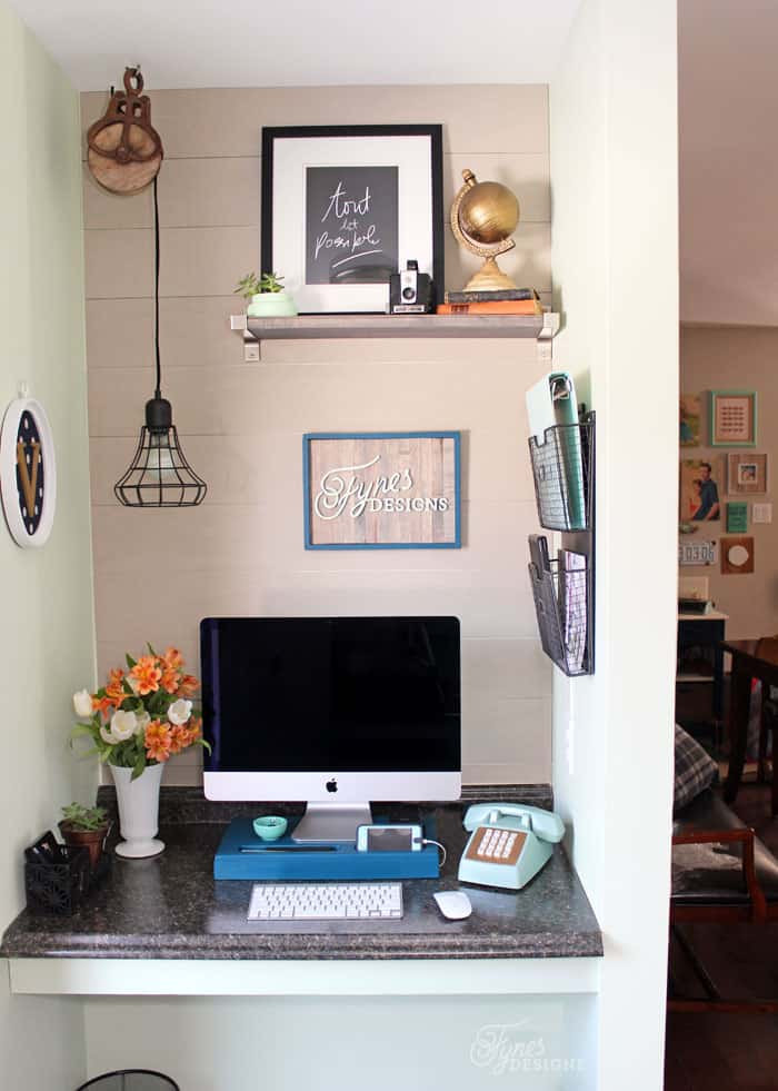 desk chair teal refinish rocking small home office makeover - fynes designs |
