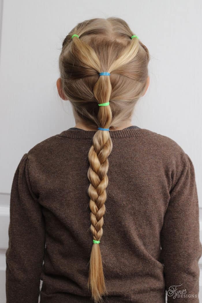 Lets start with the basic foundation do- part the hair evenly and tie the front of the hair into two small pigtails. Tie back into a ponytail. Nape of the neck stays in best.