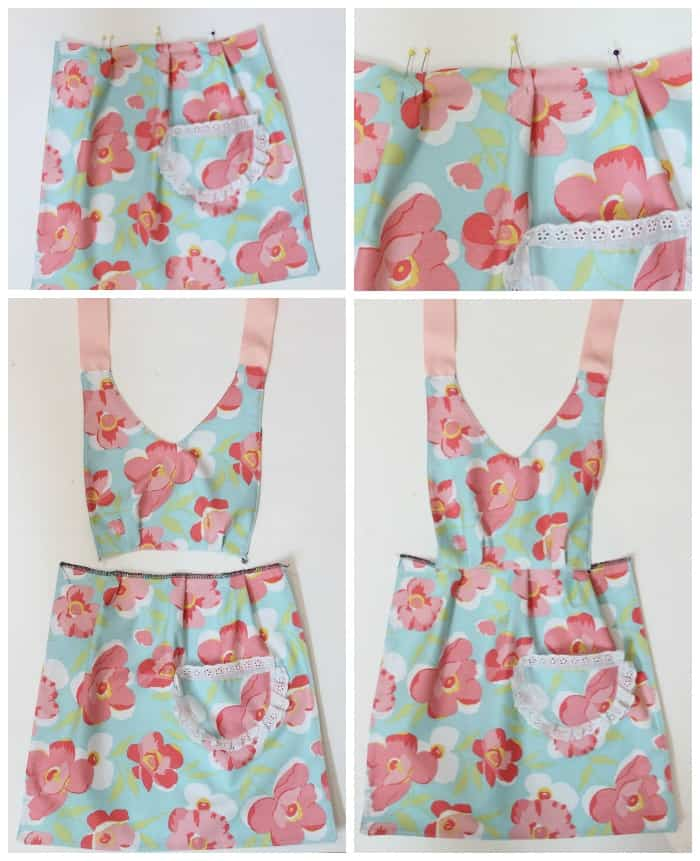 How to sew Mom and Me matching aprons- Free Easy beginner pattern. Step by step tutorial with photos