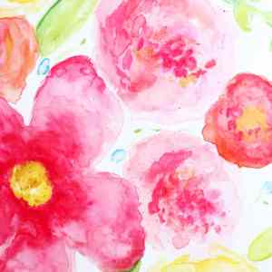 beginner watercoloring large flowers
