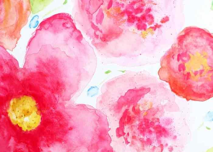 beginner watercoloring large flowers