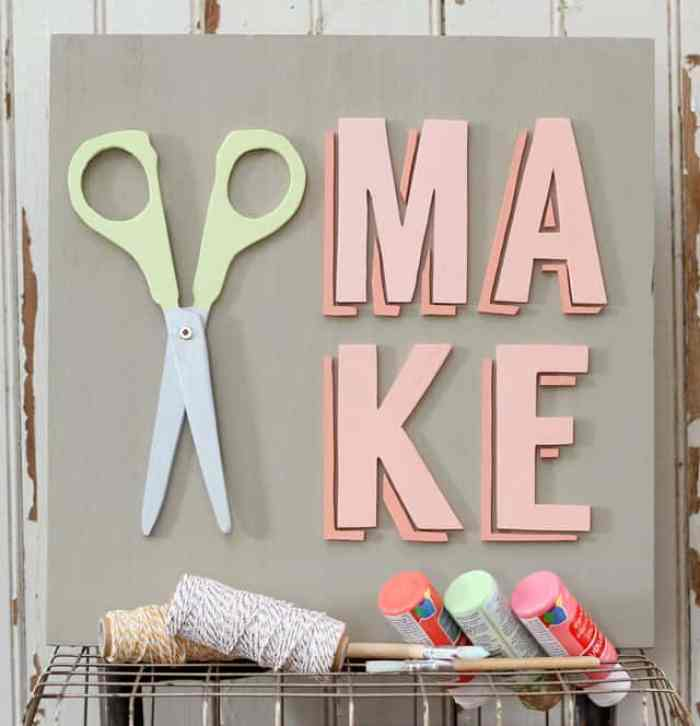 Make and scissor wood sign- perfect for a craft room