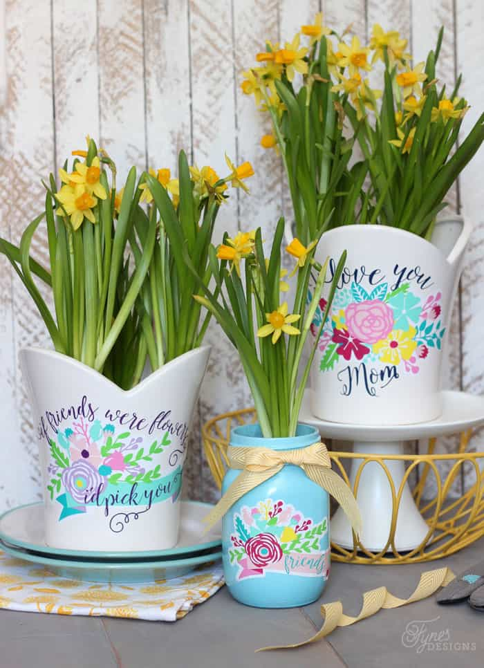 Decorate plant pots with Silhouette Vinyl Decals. Beautiful Mother's Day Gift idea