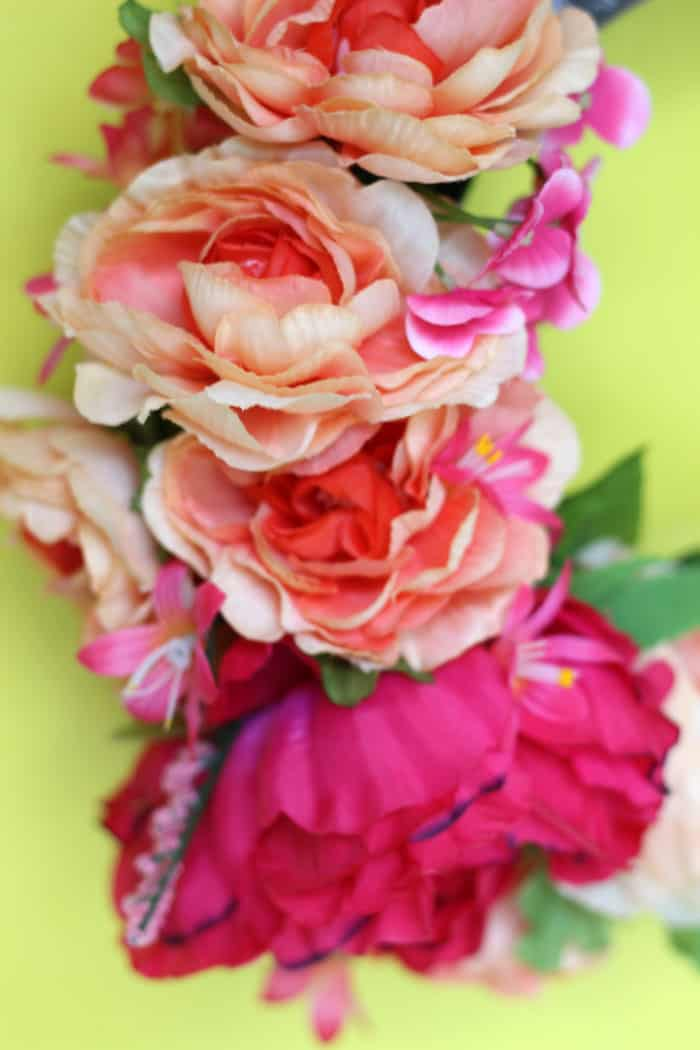 Faux flower peony wreath made from a floral crown
