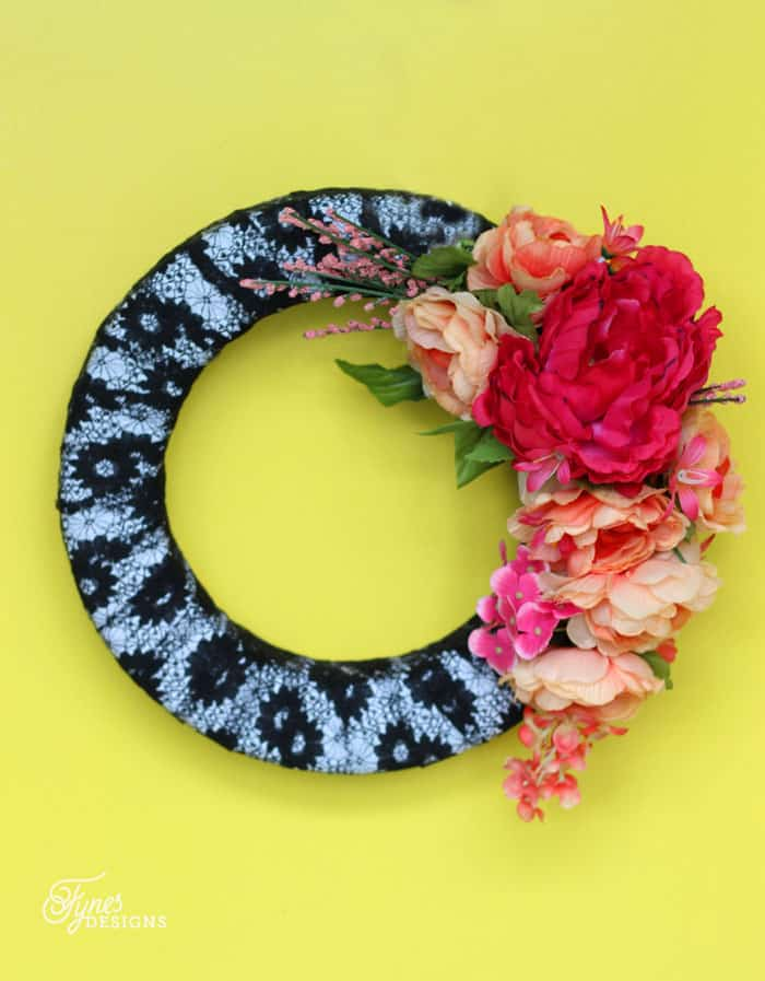 Faux flower wreath made from a floral crown
