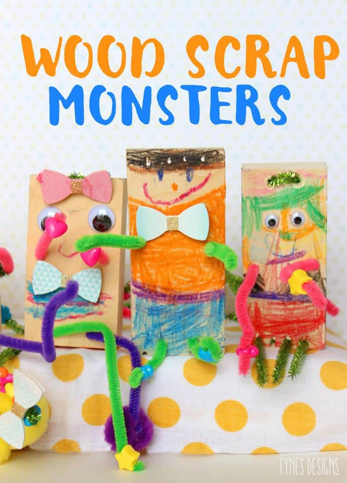 Fun Kids Craft- Make these wood scrap monster with wood offcuts, and a drill. Decorate with crayons, pipe cleaners, beads, and googlie eyes.