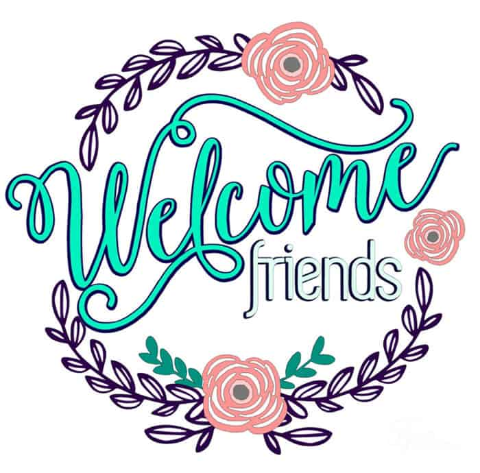 FREE Welcome Friends Vinyl Door Decal Silhouette cut file