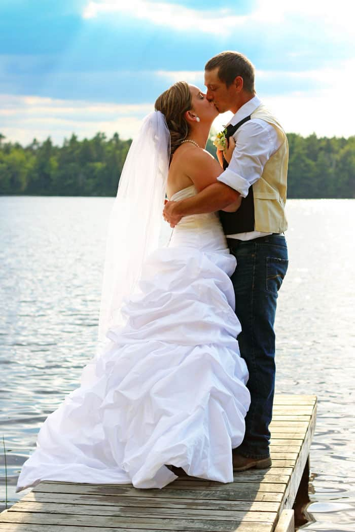 Country wedding on the lake