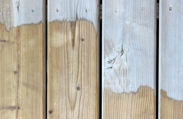 before and after Olympic deck cleaner, only after 1 minute