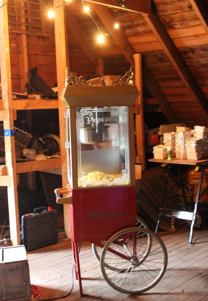 popcorn trolly at a movie theatre party