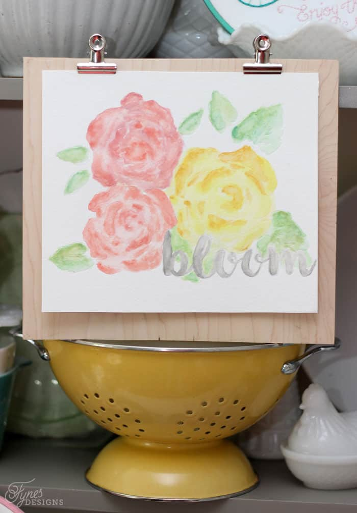 floral watercolour create with the Silhouette Curio