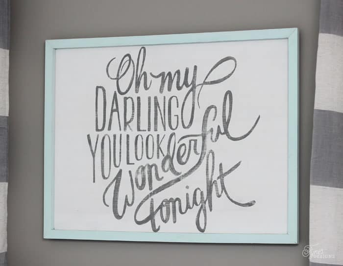 Wedding song art work- Oh my darling you look wonderful tonight