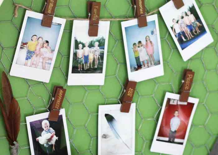 Simply add instax instant photos to a string with clips for a quick and easy display idea
