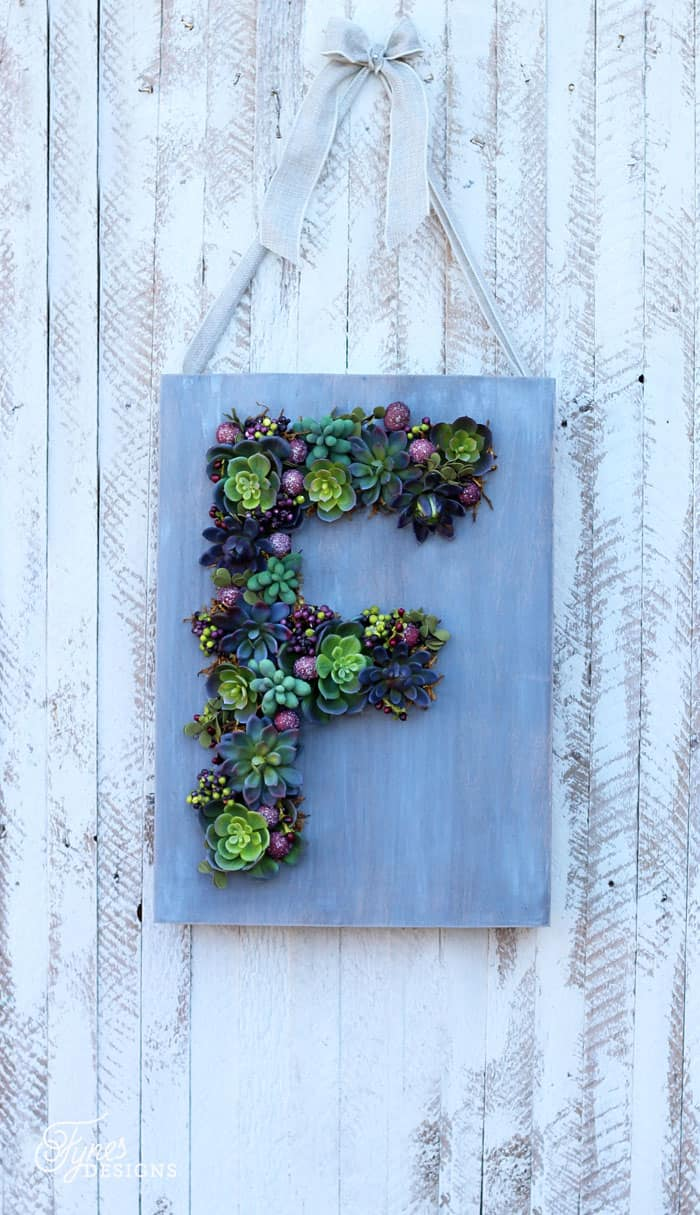 Make a faux succulent hanging Monogram planter, click for how-to tutorial