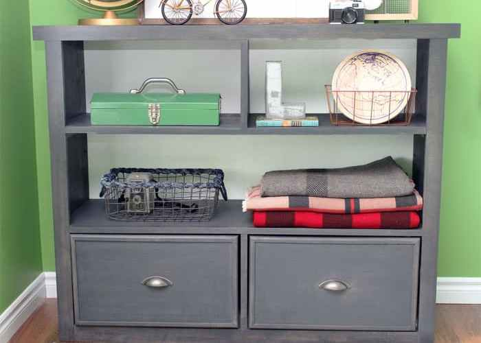 DIY boys bedroom bookcase, with drawers