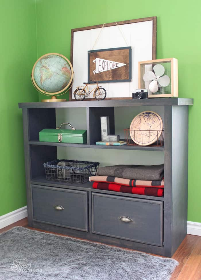 DIY Boy Bedroom Bookcase with drawers