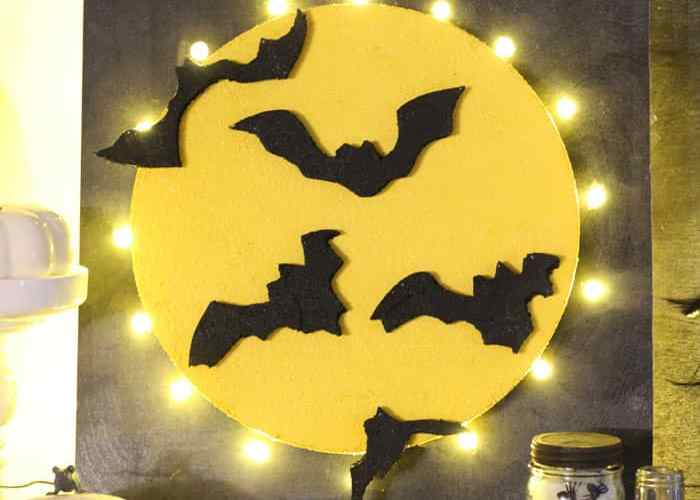 Halloween, full moon bat sign made with styrofoam #makeitfuncrafts
