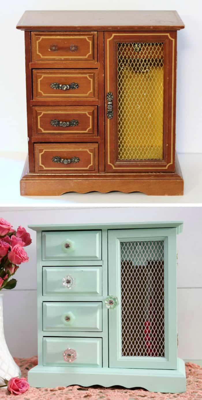 before and after jewelry box makeover