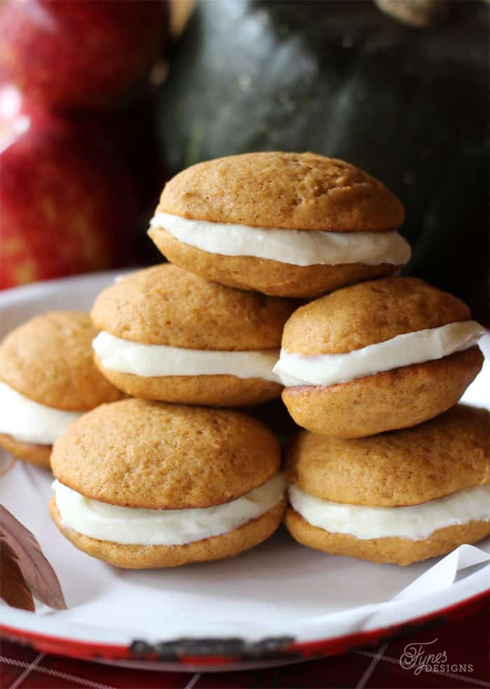 Soft and delicious pumpkin whoopie pies with cream cheese icing