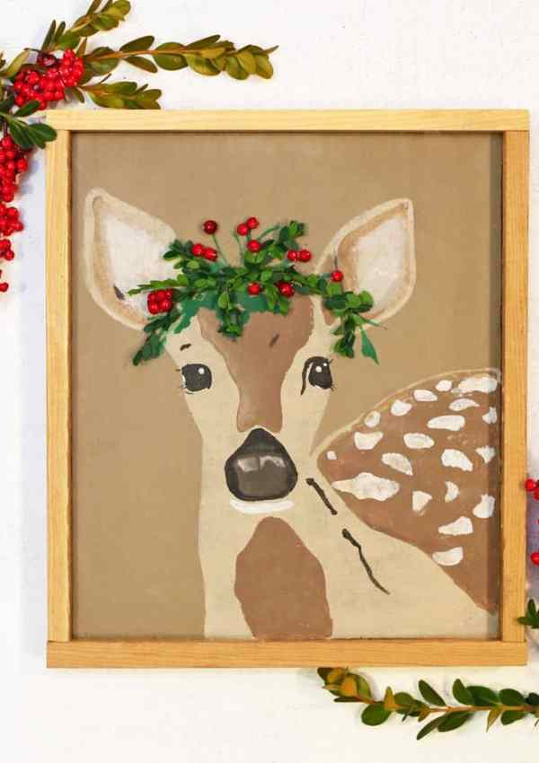 Free Christmas Fawn Silhouette Cut File