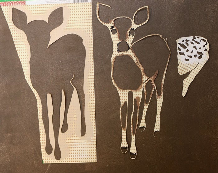Using the free silhouette cut file to create a fawn painting